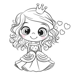 cartoon princess outlined for coloring book vector image