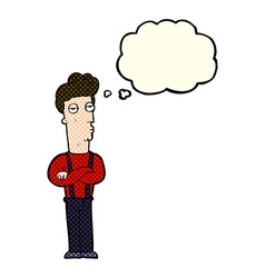 Cartoon unimpressed man with thought bubble vector
