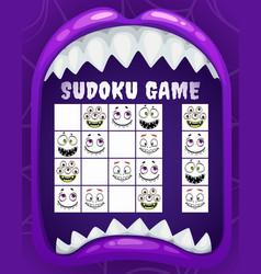 Children sudoku game puzzle of halloween vector