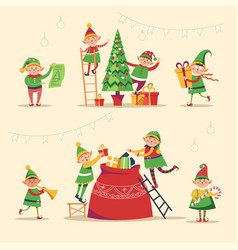 Christmas winter holiday elves getting ready for vector