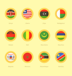 Circular flags of kenya liberia libya vector