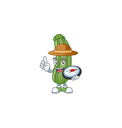 Cool explorer zucchini cartoon character with a vector