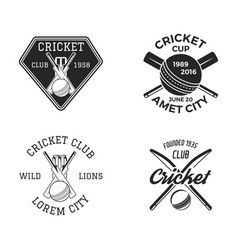 Cricket logo set sports template emblems elements vector