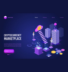 cryptocurrency marketplace landing page vector image