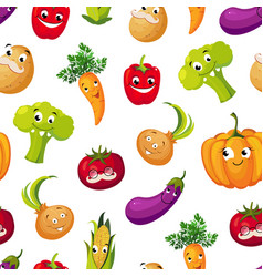 cute funny vegetables seamless pattern potato vector image