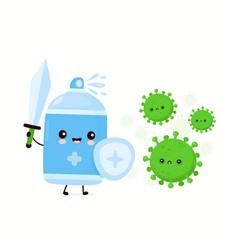 Cute happy antiseptic spray bottle kill virus vector