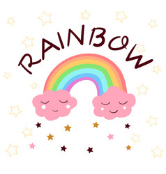 Cute rainbow idea for print t-shirt vector