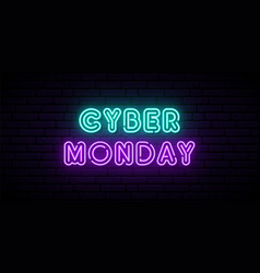 cyber monday neon horizontal banner neon vector image