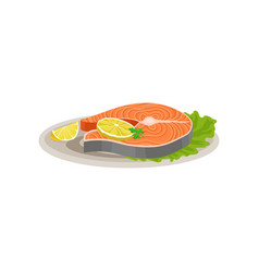 delicious salmon fish with slices of lemon and vector image