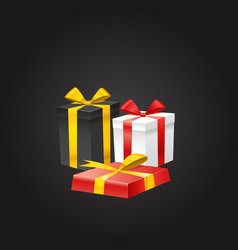 different color gift boxes on black vector image