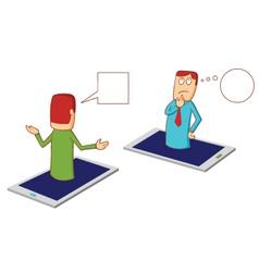 Discussion via smartphone vector