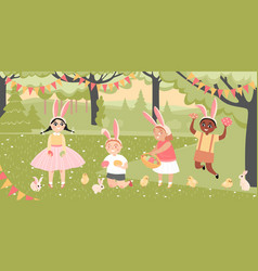 easter images children with painted eggs in garden vector image