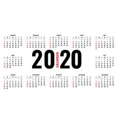 elegant 2020 calendar layout template design vector image