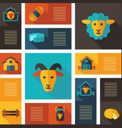 farm animal icons set vector image