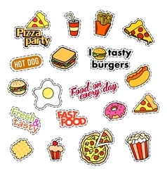 Fashion patch badges Fast food set Stickers vector