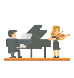 Flat design piano and violin duet vector