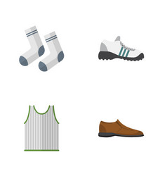 Flat icon clothes set of singlet male footware vector