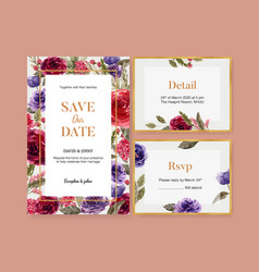 Floral wine wedding card design with rose vector