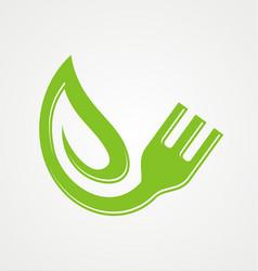 fork green leaf vegetarian organic logo vector image