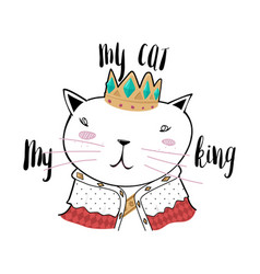 freehand and cute cartoon king cat vector image