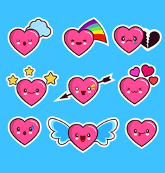 Funny heart emoticon icon set valentine s day vector