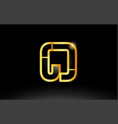 Gold black alphabet letter cd c d logo vector