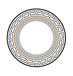 Greek key round frame typical egyptian assyrian vector