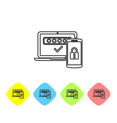 Grey multi factor two steps authentication line vector