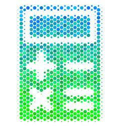 halftone blue-green calculator icon vector image