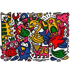 Hand drawn doodle cartoon sketch animals vector