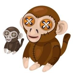 Handmade soft toy monkey animal vector image vector image