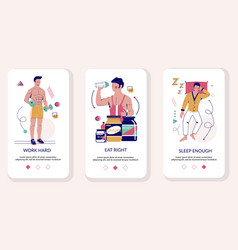 Healthy lifestyle mobile app onboarding screens vector