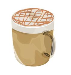 hot caramel macchiato coffee icon vector image