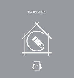 house planning - project design - flat icon vector image
