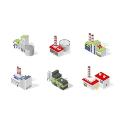 Icons and compositions of industrial building vector