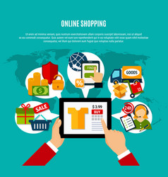 internet shopping flat composition vector image