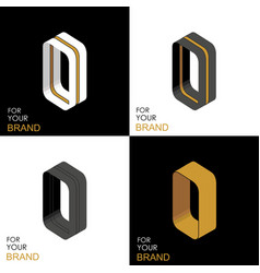 isometric set letter o black white gold palette vector image