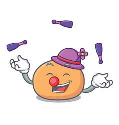 Juggling mochi mascot cartoon style vector