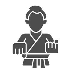karate teacher solid icon self defense concept vector image