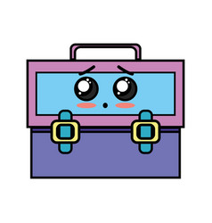 Kawaii cute surprised suitcase design vector