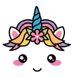 Kawaii cute unicorn face rainbow pastel color with vector