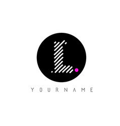 l letter logo design with white lines and black vector image