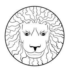 lion head with ethnic coloring page vector image