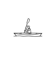 Man in canoe hand drawn outline doodle icon vector