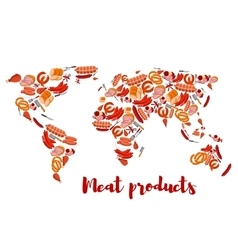 Meat and sausage products shaped as world map vector