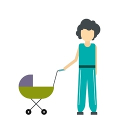 Mother with baby in stroller icon vector image
