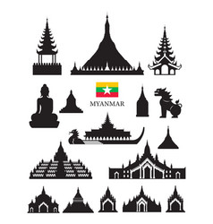 myanmar landmarks architecture building object set vector image