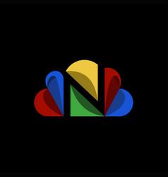N cloud logo design vector