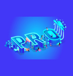 neon effect isometric word pro creative letters vector image