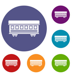 passenger train car icons set vector image